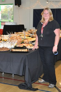 Leslie Desaeyere shows off the buffet.
