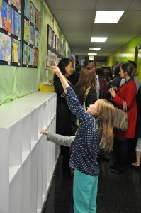 Students show off their artwork during Cohn.