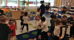 Cécile's Pre-Kindergarten class enjoy their snack followed by a waltz in the sprit of the Gala.
