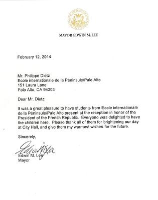 Mayor Lee Thank You Note