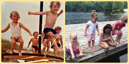 Me and my cousins during our Long Island summers (left) and my daughters and their friends in the Adirondacks last summer (right).